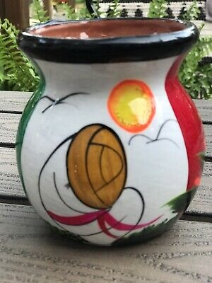 Hand painted Mexico Mexican Design Small Pot Bright Colors Glitter