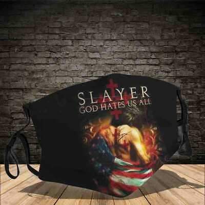 Slayer God hates us all full printing Cotton Face Masks 3D One Size