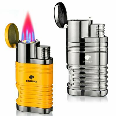 Cigar Lighter Butane with Punch 4 Jet Flame No Gas Windproof Refillable