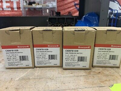 "Lot of 4 - Honeywell C6097B1028 Gas Pressure Switch (3-21"" W.C. Manual Reset)"