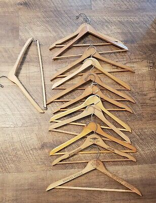 Vintage Lot of 12 Vintage Wooden Hangers  2 from hotels Free shipping!
