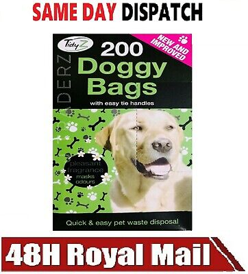 DOGGY POO BAGS Scented Dog Cat Puppy Poo Waste Easy Tie Pooper Scooper Disposal