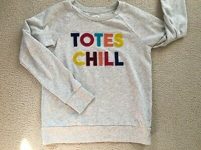 Gap Kids Totes Chill XXL 13/14 Sweatshirt Gray Pullover Velvet Raised Letters