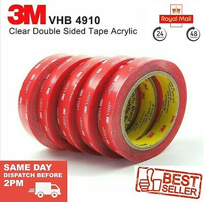 3M VHB DOUBLE SIDED STICKY TAPE ROLL VERY STRONG SELF ADHESIVE TAPE CLEAR 10mm