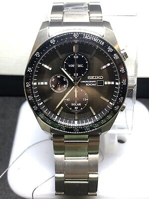 Seiko SSC715 Solar Chronograph Black Dial Stainless Men's Watch SSC715 #A60