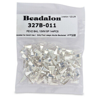 Findings Beadalon® Pinch Bails with Ring 10mm Silver Plated 10 pieces
