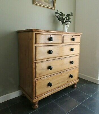 Fabulous Large Antique Victorian Solid Pine Chest of Drawers  *All Original*