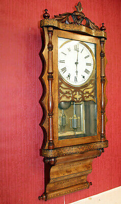 Antique Wall Clock Anglo-American Inlay Wall Clock Marquetry Inlaid Clock