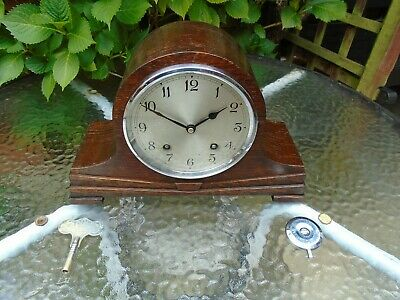 Garrard Early Restored Thick Plated Time & Strike Oak Mantle/Sideboard Clock.