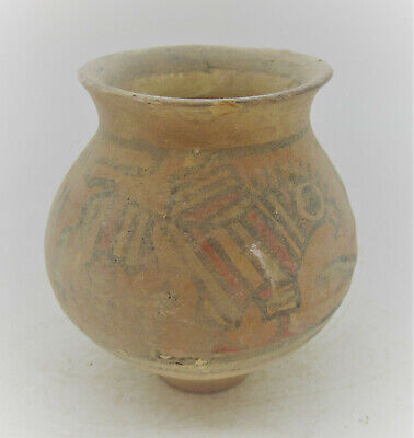 Ancient Indus Valley Harappan Terracotta Vessel With Beast & Bird Motifs 2000 Bc