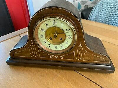 Restored Antique Napoleon Hat Mantle Clock with Pendulum and Westminster Chime.