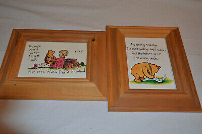 Pair of Winnie The Pooh Pictures in Wooden Frames Christopher Robin Disney