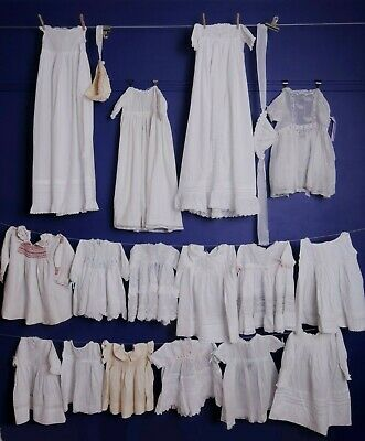 16 Antique Dresses Baby, Lace Christening  Hand Embroidery White Lawn, Doll