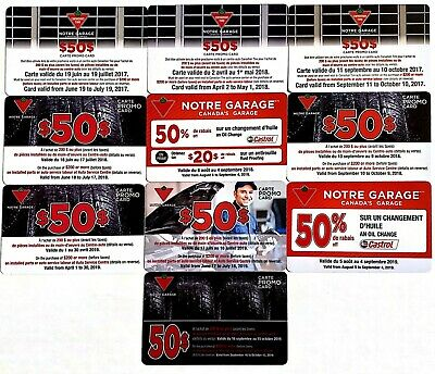 Canadian Tire Garage Promo Gift Card Pack Of 10 Different - No Value