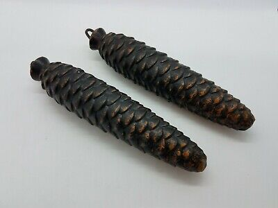 Antique or Vintage 8 Day Large Cast Iron Cuckoo Clock PineCone Weights Set of 2