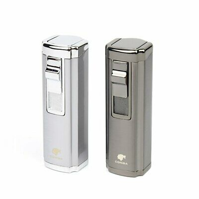 Cigar Lighter Butane Triple 3 Jet Flame Refillable Butane TorchWith Punch No Gas