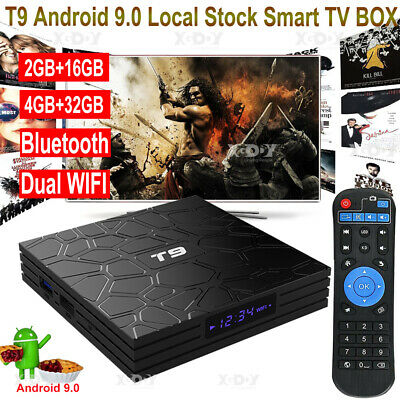 T9 4+32G Android 9.0 4K TV BOX 5.8G WLAN BT USB3.0 Smart Passerelles multimédia