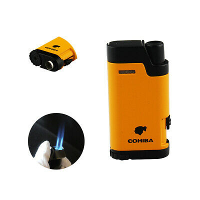 Cigar Torch Lighter with Punch Windproof Double 2 Jet Flame Butane Refillable