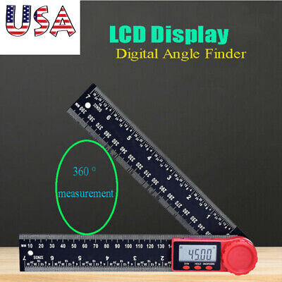 2In1 Digital Electronic LCD Digital Angle Finder 8in Protractor Ruler Goniometer