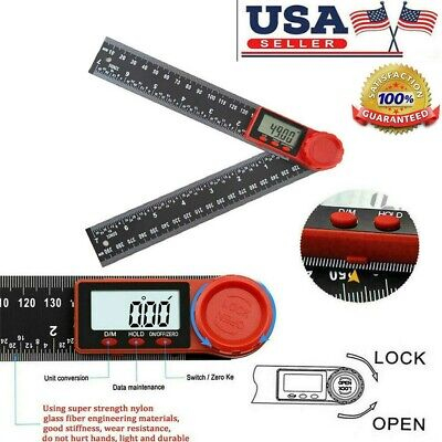 2 In 1 Electronic Digital Angle Measure Tool 8-Inch Protractor Ruler Gauge US