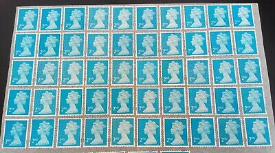 50 2nd Class Blue Security Stamps Unfranked off Paper some Gum f/v £32.50