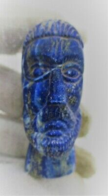 Ancient Sasanian Lapis Lazuli Carved Statue Fragment Bearded Male Head