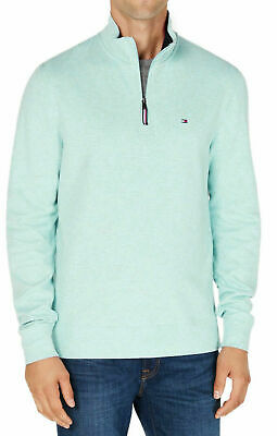 Tommy Hilfiger Mens Sweater Mint Green Size Small S 1/2 Zip Pullover $79 239