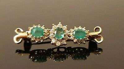 Very Pretty Vintage 18 ct Yellow Gold Natural Emerald And Diamond Brooch