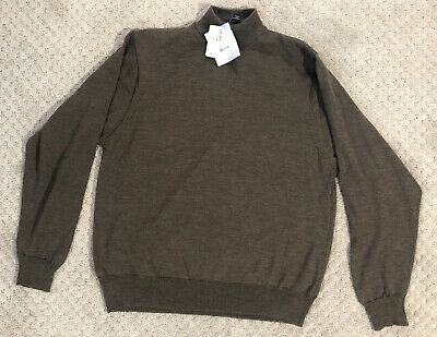 NEW Mens Jos. A. Bank Pullover Wool Sweater Turtleneck M Medium Brown Solid