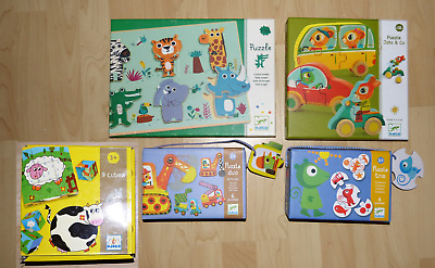 LOT de 5 JEUX DJECO PUZZLE COUCOU JUNGLE JAKO & CO VEHICLES COULEURS CUBES