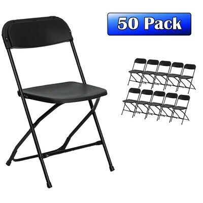 TentAndTable Black Plastic Folding Chair 50-Pack Commercial Party Rental Chairs