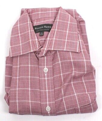 Mens Austin Reed Red White Check Two Fold Cotton Shirt M Medium 39 15 5 New 8 99 Picclick Uk