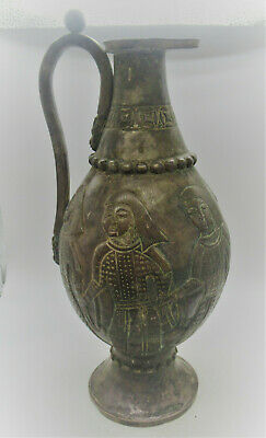 Scarce Ancient Sasanian Hand Beaten Silver Amphora Jug With Soldier Depictions