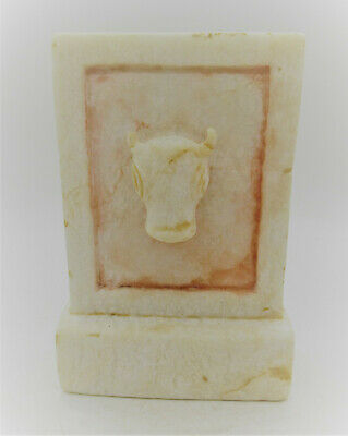 Scarce Ancient Near Eastern Alabaster Carved Relief Stella With Rams Head