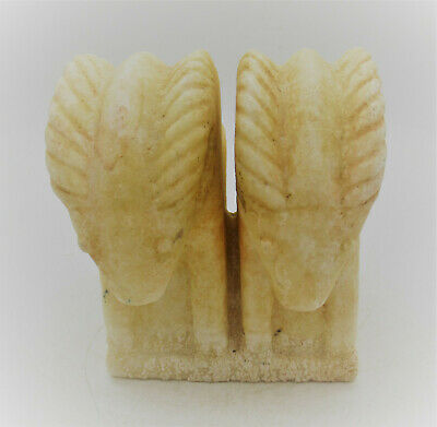 Scarce Ancient Near Eastern Crystal Stone Carved Twin Ram Statuette 1000Bce