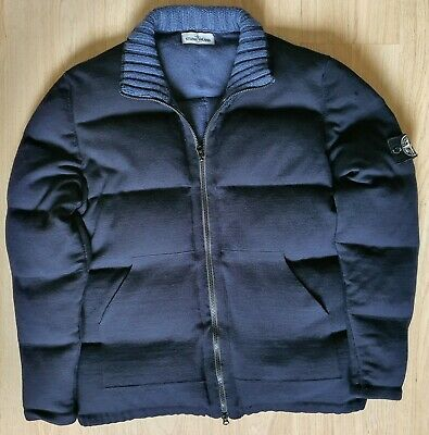 MENS STONE ISLAND blue wool down filled padded jacket
