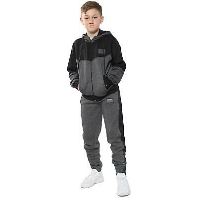 A2Z Kids Girls Contrast Panelled Grey Tracksuit Hooded Jogging Suit 2-13 Years