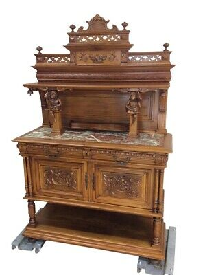 Antique French Jester Server, Marble Top, Walnut, Turn of Century