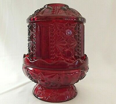 Ruby Fairy Lamp Vintage Indiana Glass