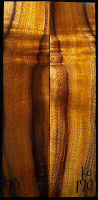 """Curly Koa #190 Knife Scales 8""""x 1.9""""x 3/8"""" see 100 species in my store"""
