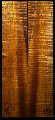 """Curly Koa #191 Knife Scales 8""""x 1.7""""x 3/8"""" see 100 species in my store"""