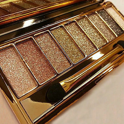 9 Colors Shimmer Eyeshadow Eye Shadow Palette & Makeup Cosmetic Brush Set NEW.W