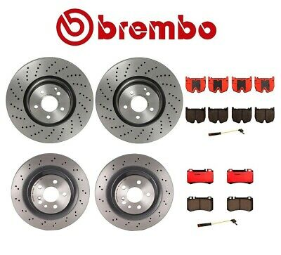 For Benz C215 W220 Front and Rear Disc Brake Rotors /& Pads /& Shoes /& Sensors KIT