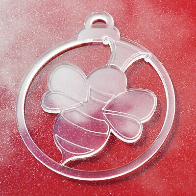 6 PK Cute Bumble Bee Clear Acrylic Christmas Decorations