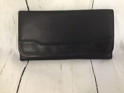 LL Bean Black Leather Trim Field Travel Wallet Passport ID Money Organizer