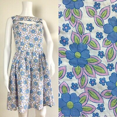 Blue and Green Floral Daisy Dress Vintage 60s Dress