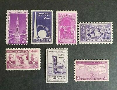 US Scott #852-858 -1939 YEAR COMPLETE SET...Mint Not Hinged