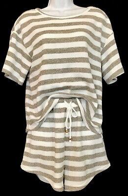sabo skirt Shorts And Top White /Beige Striped Knit S Sleeve Drawstring Size S