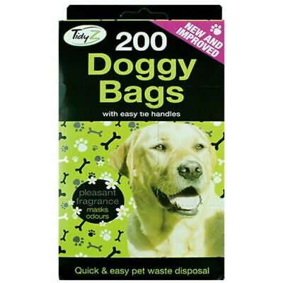 200 x DOGGY BAGS Scented Dog Cat Puppy Poo Waste Easy Tie Scooper Poop Disposal