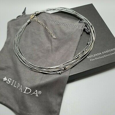 Silpada Sterling Silver, Hematite, Glass & Leather Cord Necklace N2146 $99